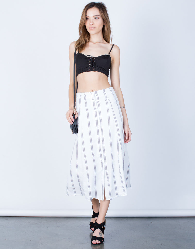 Front View of Flowy Striped Midi Skirt