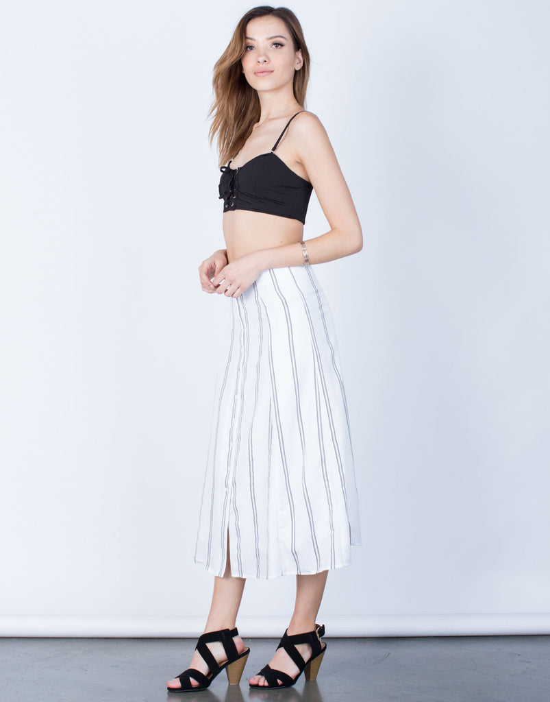Side View of Flowy Striped Midi Skirt