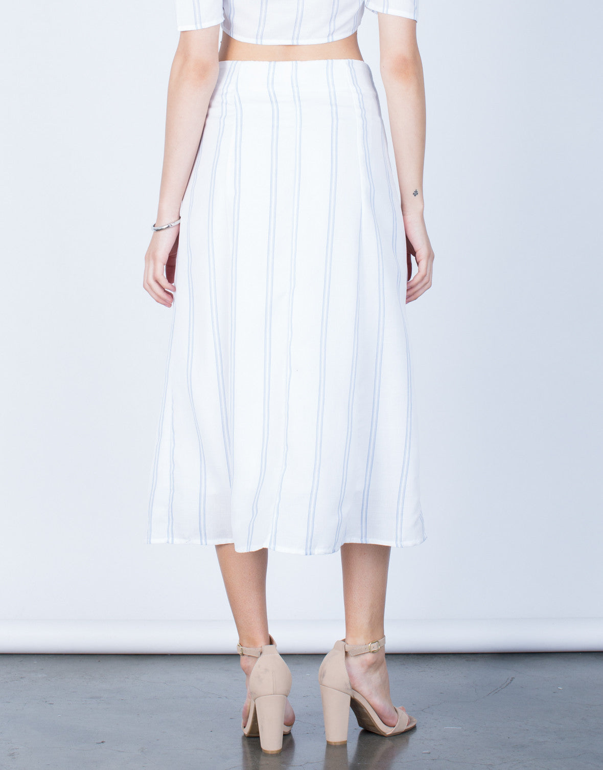 Back View of Flowy Striped Midi Skirt