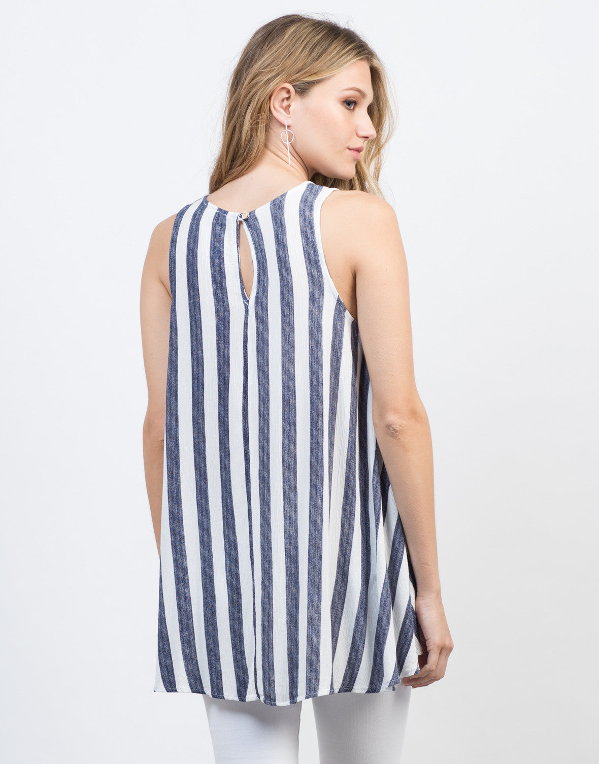 Back View of Flowy Striped Tunic Top