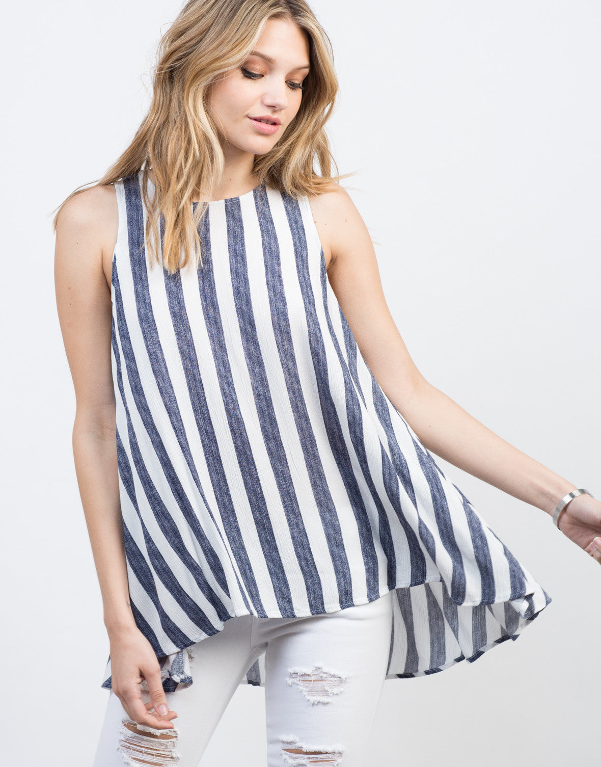 Detail of Flowy Striped Tunic Top