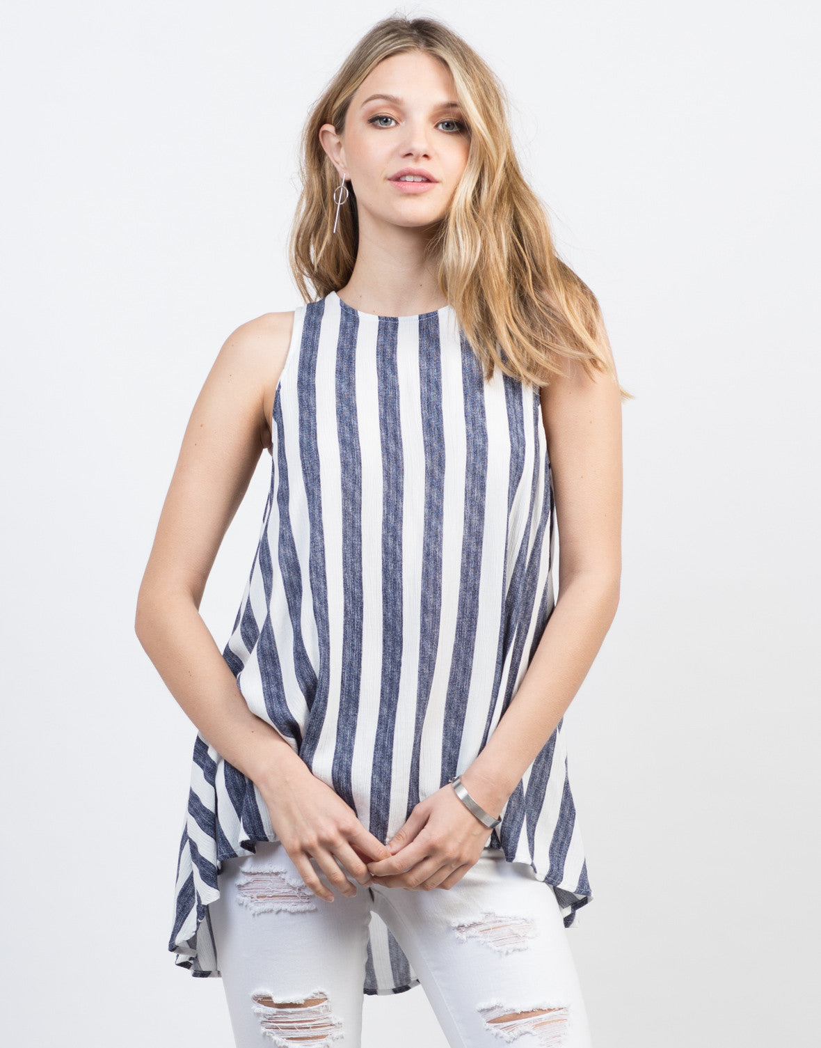 Front View of Flowy Striped Tunic Top