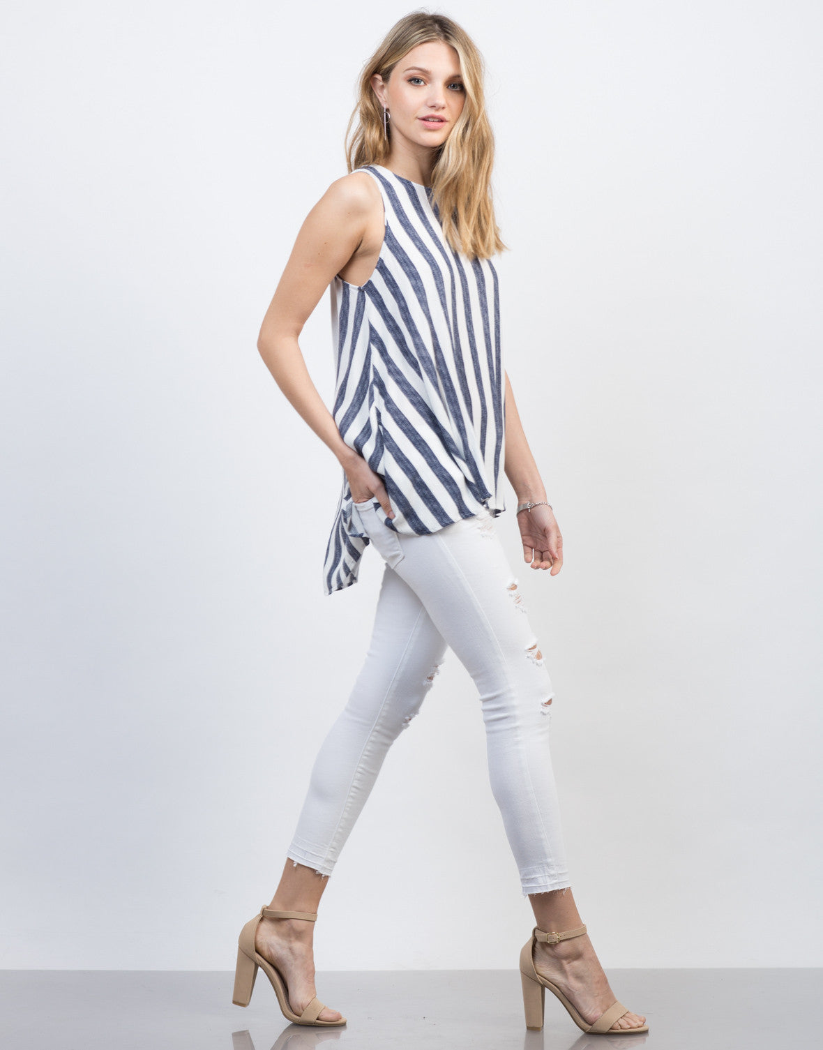Side View of Flowy Striped Tunic Top