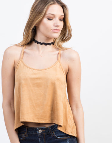 Detail of Flowy Suede Tank