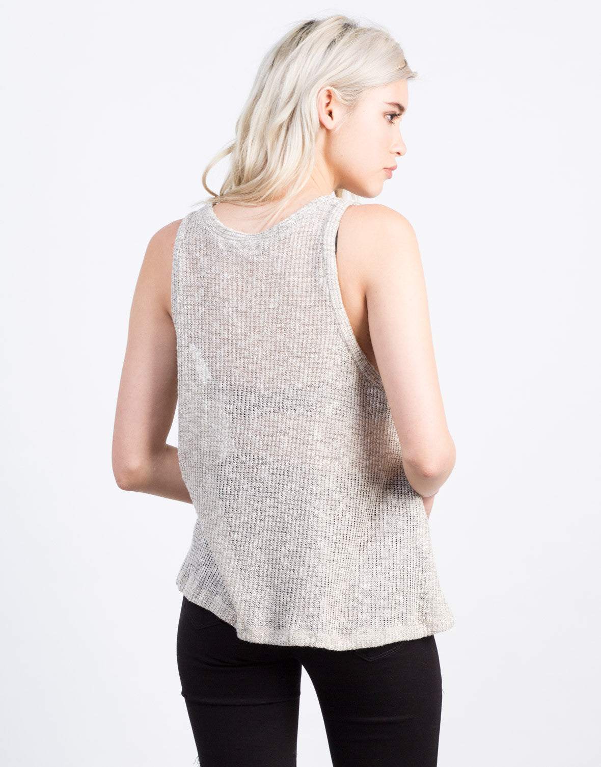 Back View of Flowy Sweater Tank