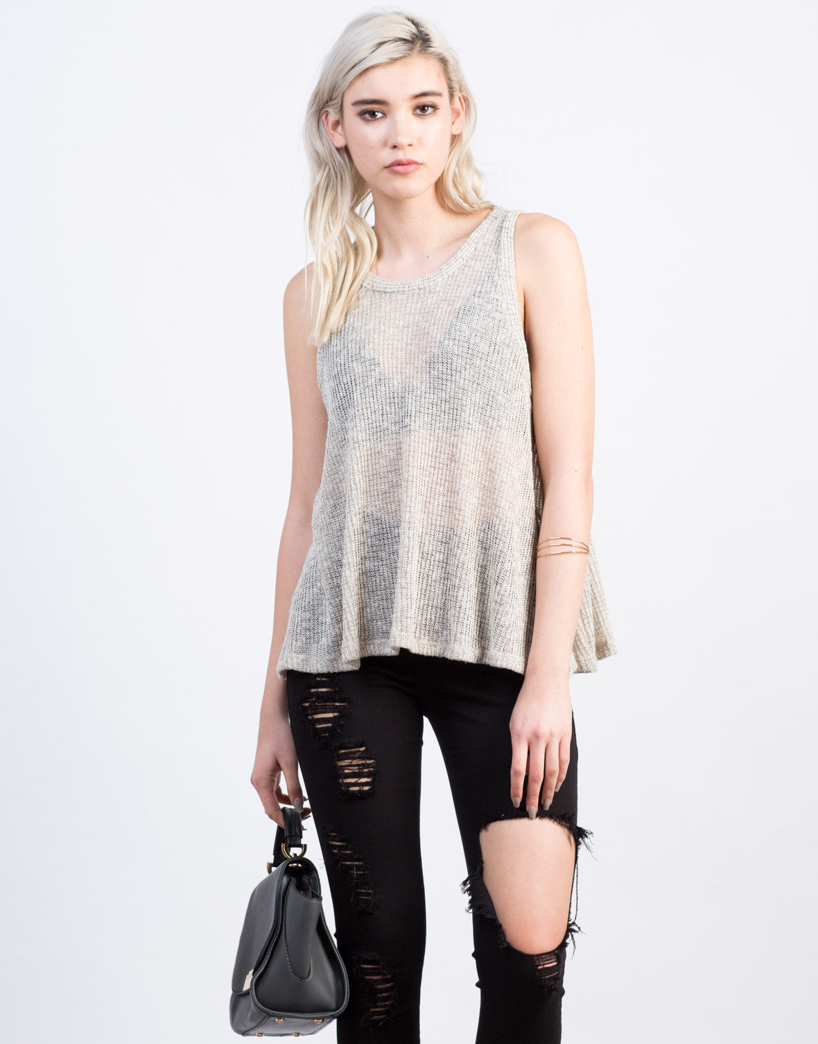 Front View of Flowy Sweater Tank