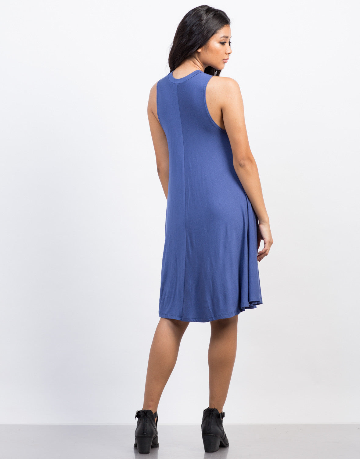Back View of Flowy Tee Dress