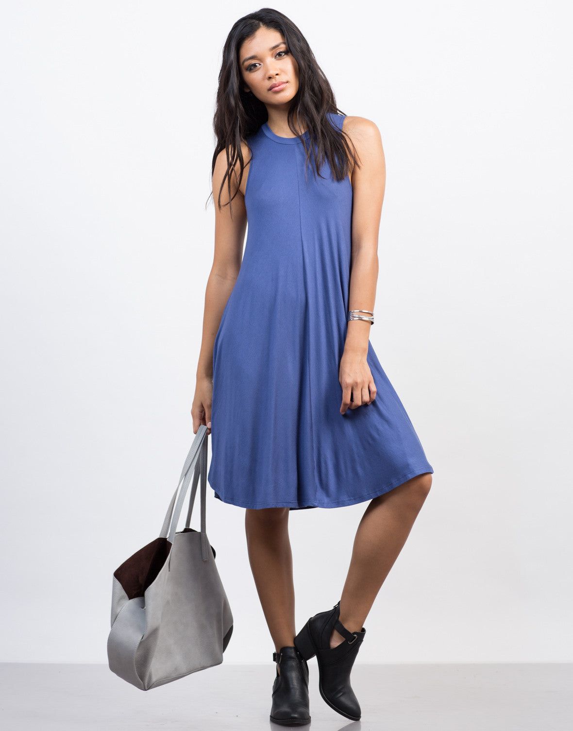 Front View of Flowy Tee Dress
