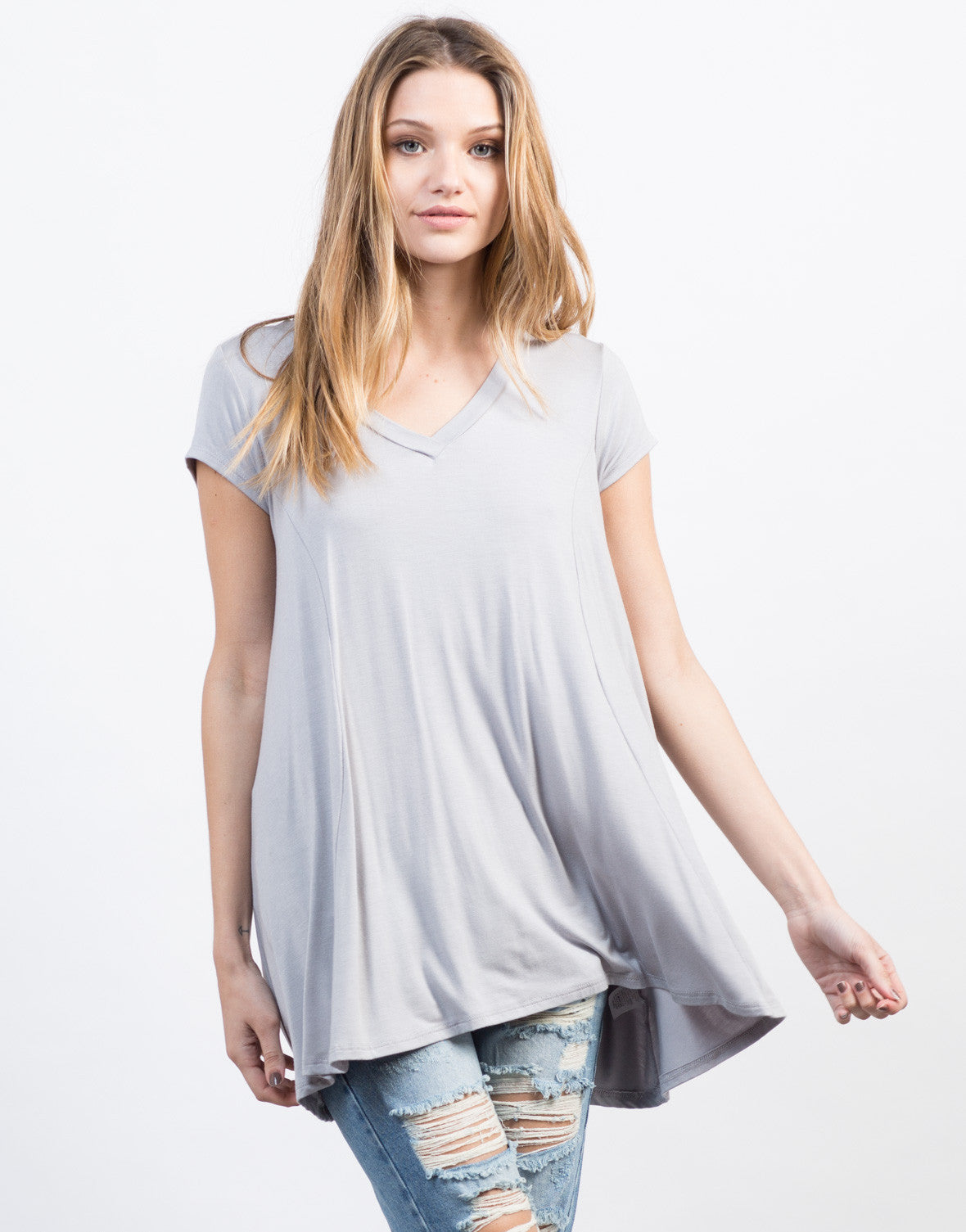 Front View of Flowy V-Neck Basic Tee