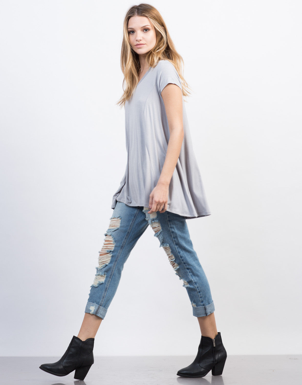 Side View of Flowy V-Neck Basic Tee