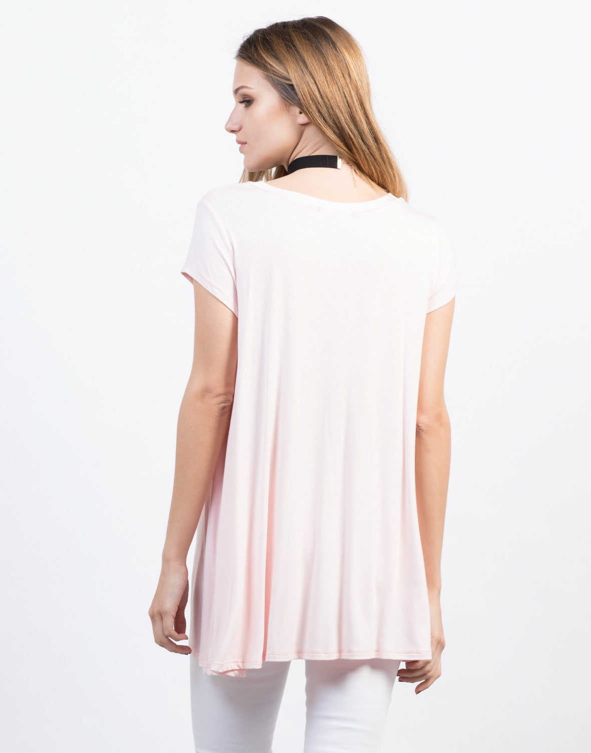 Back View of Flowy V-Neck Basic Tee