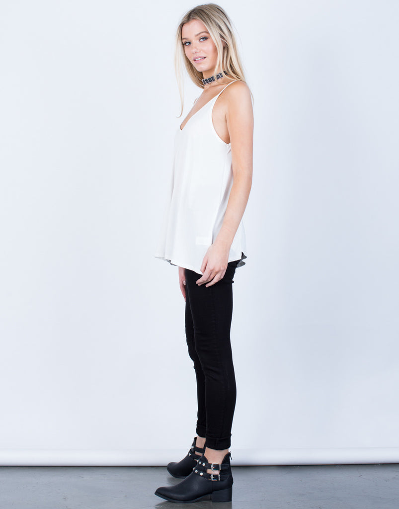 Side View of Flowy V-Neck Tank