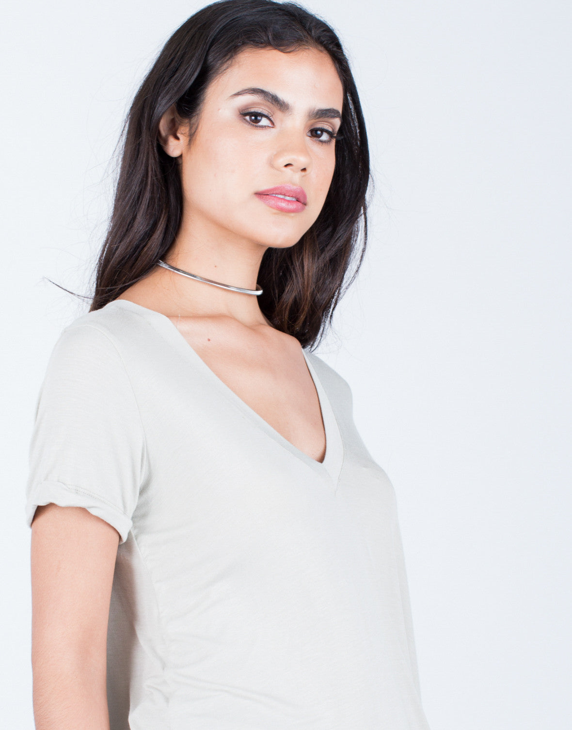 Detail of Flowy V-Neck Tee