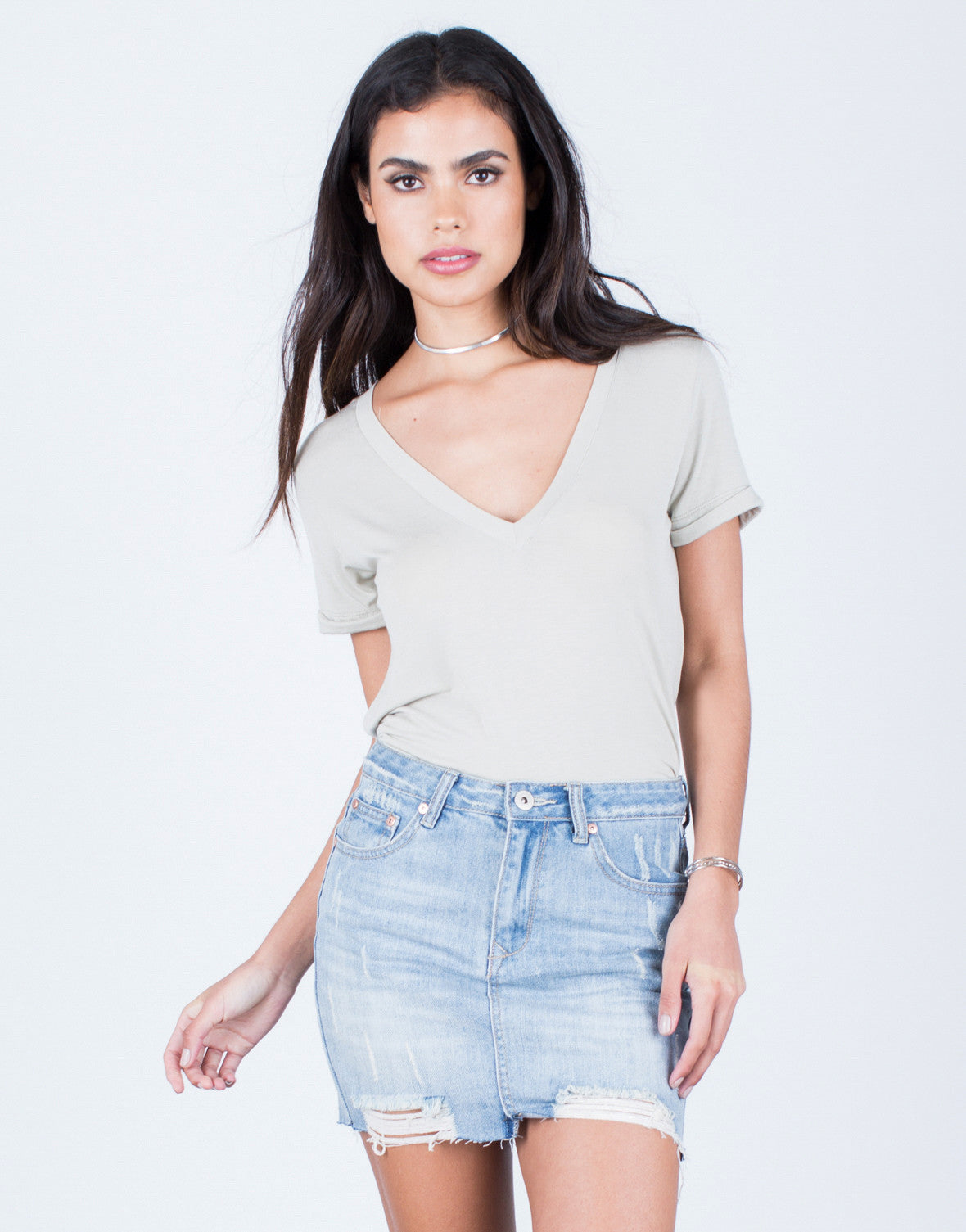 Front View of Flowy V-Neck Tee