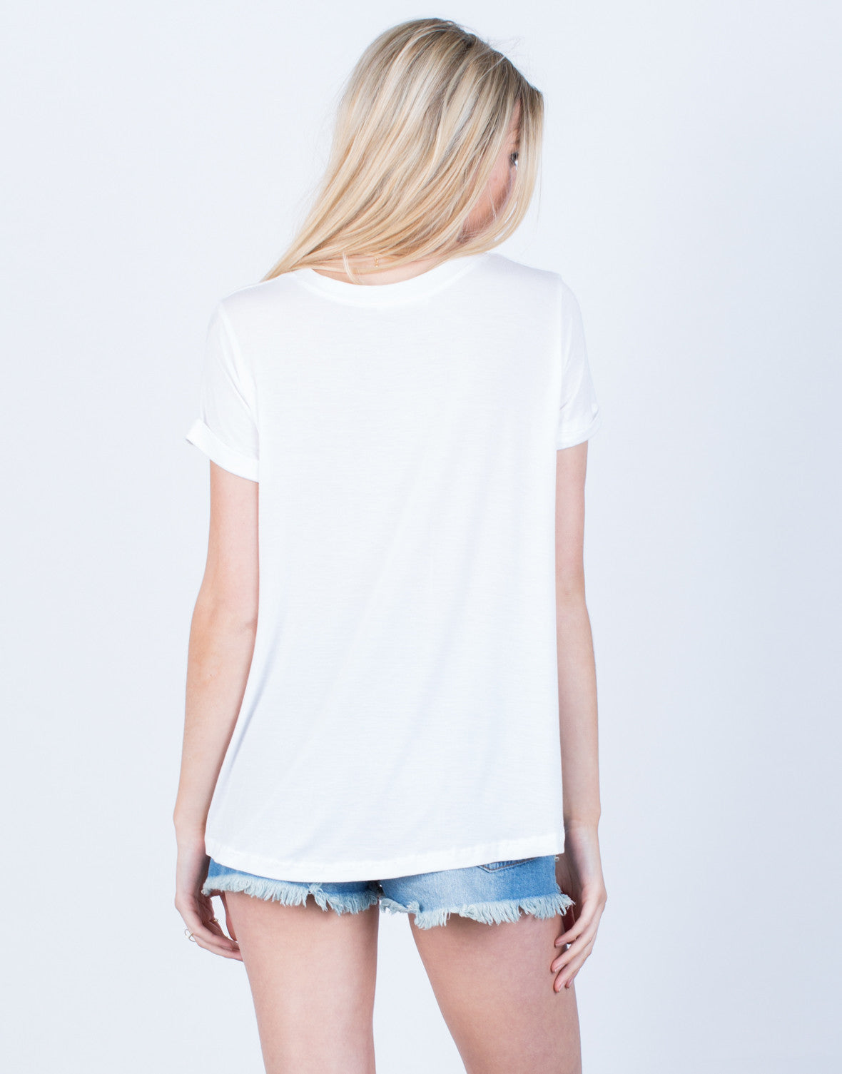 Back View of Flowy V-Neck Tee