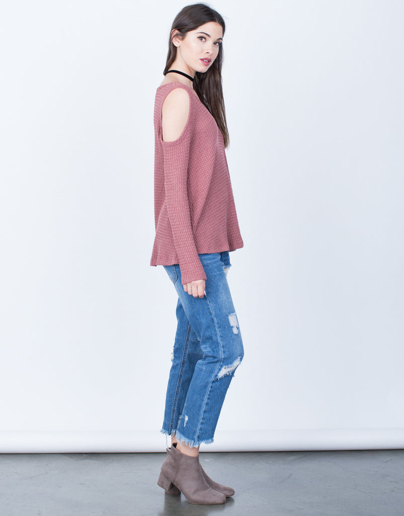 Flowy Waffle Knit Top - 2020AVE