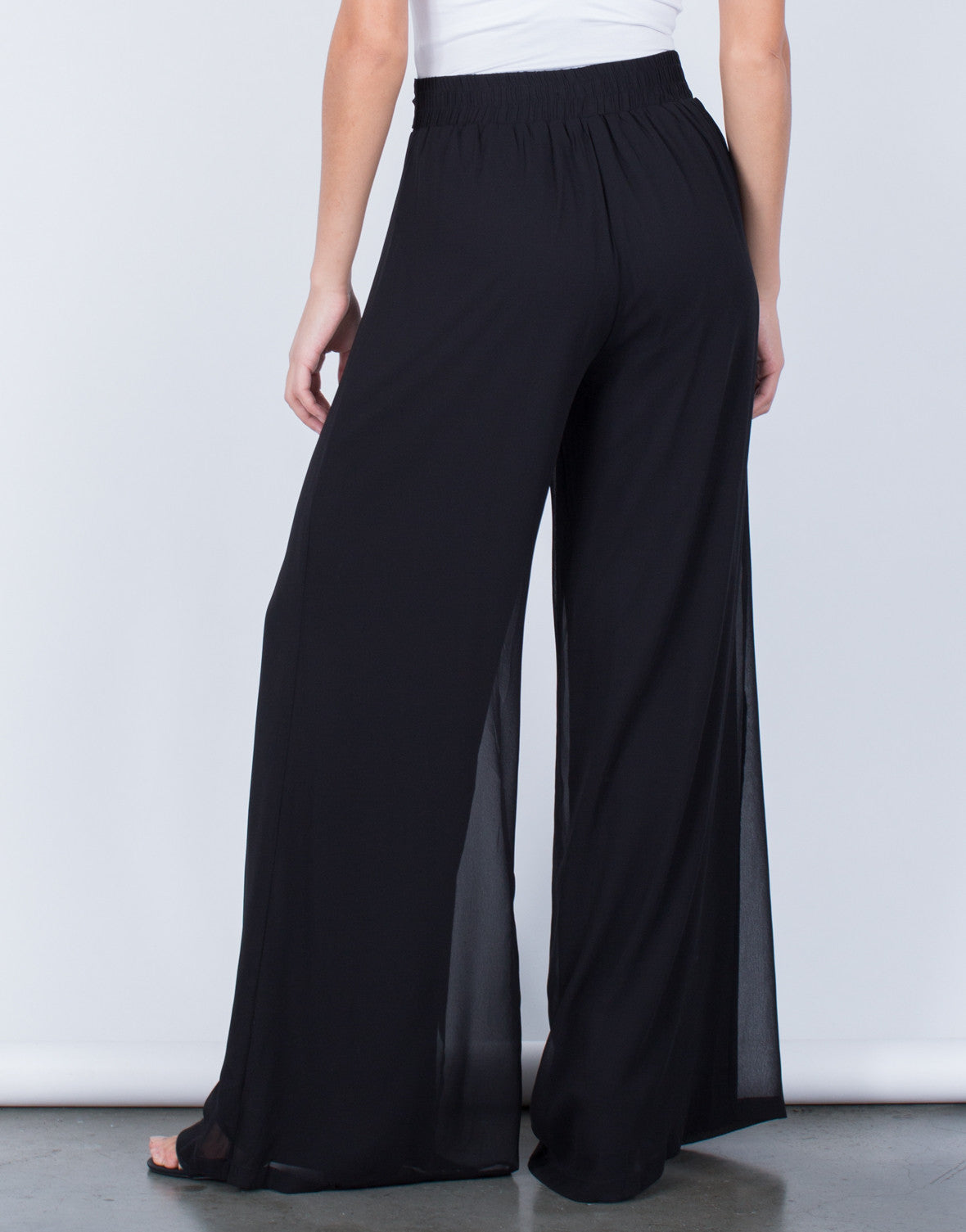 Back View of Flowy Wide Leg Pants