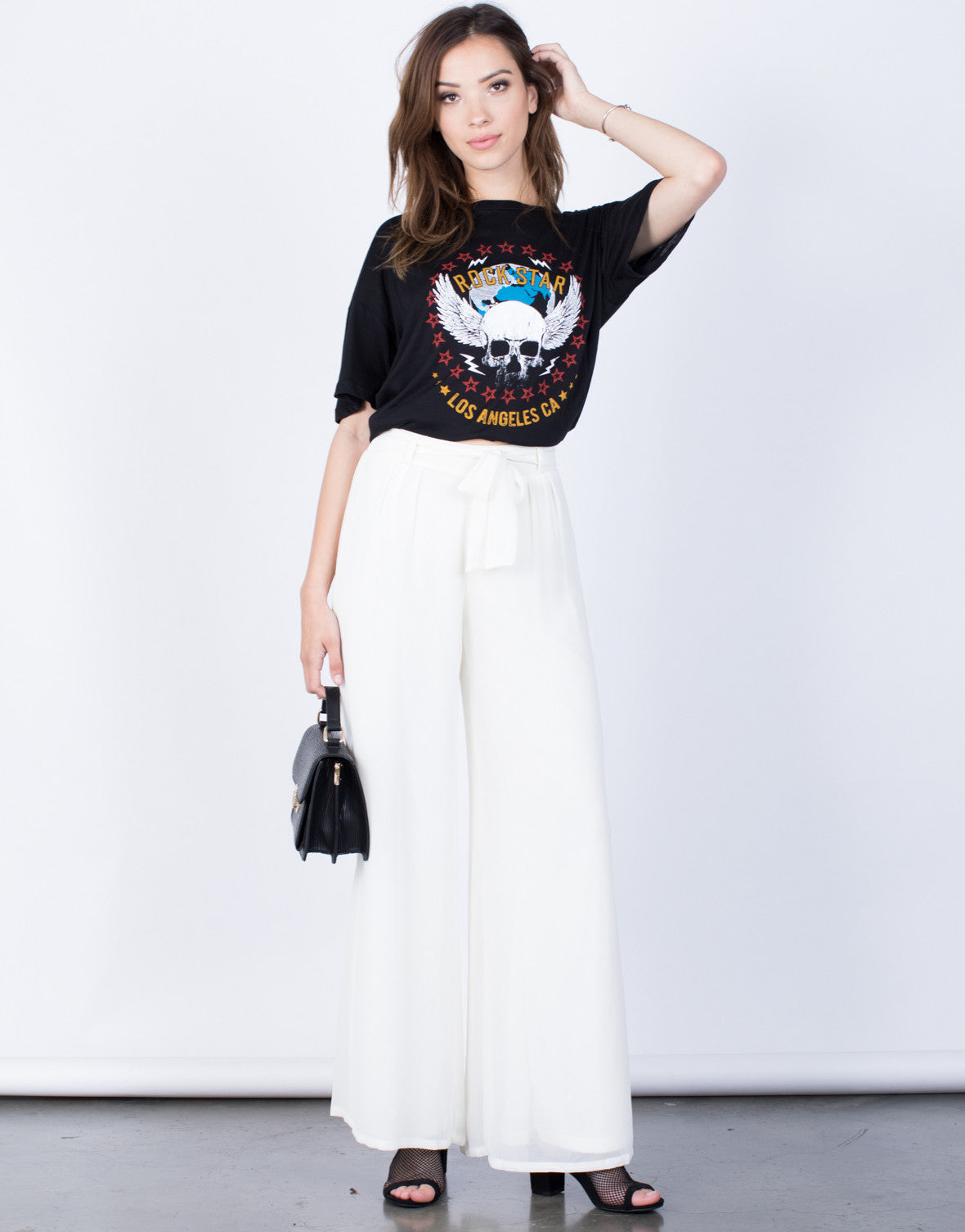 Front View of Flowy Wide Leg Pants