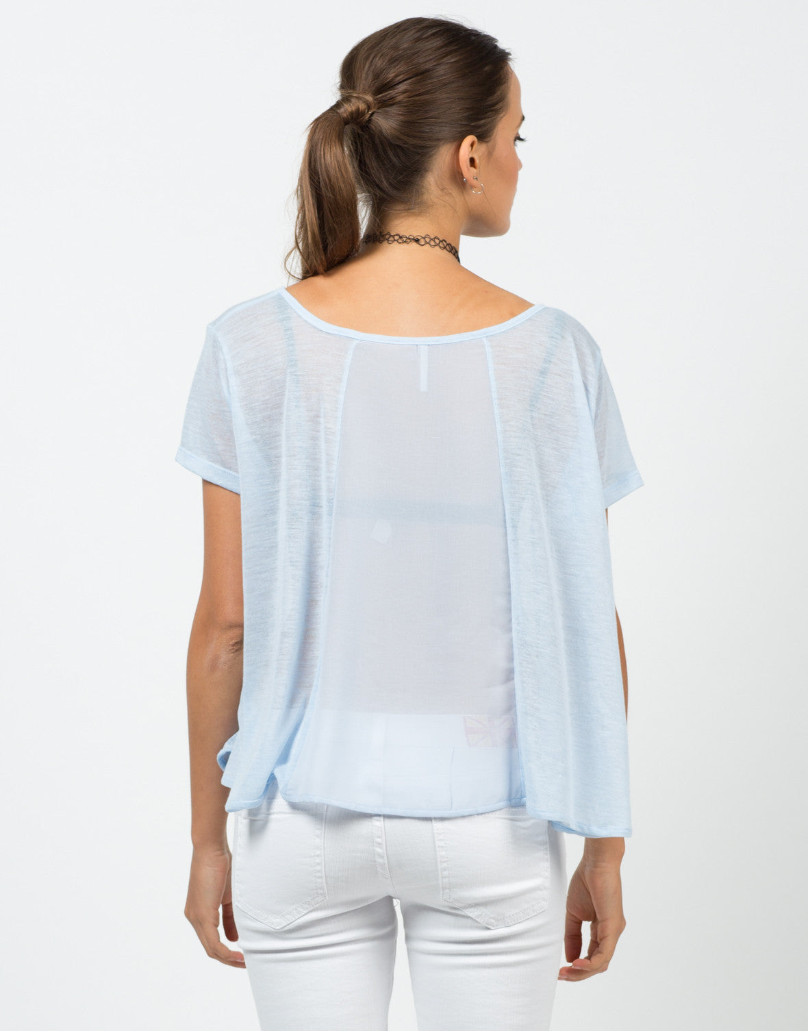 Back View of Flowy Chiffon Blouse