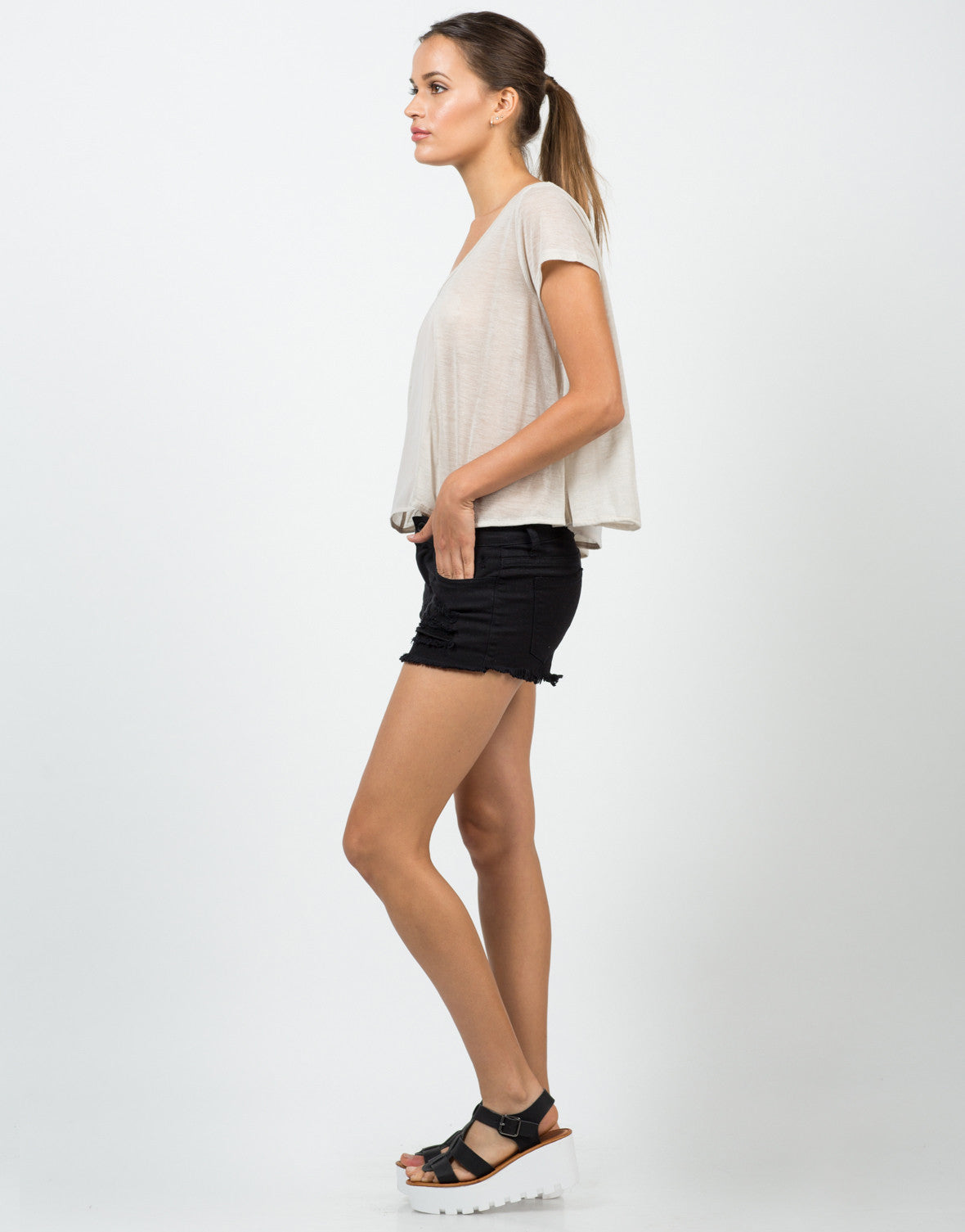 Side View of Flowy Chiffon Blouse