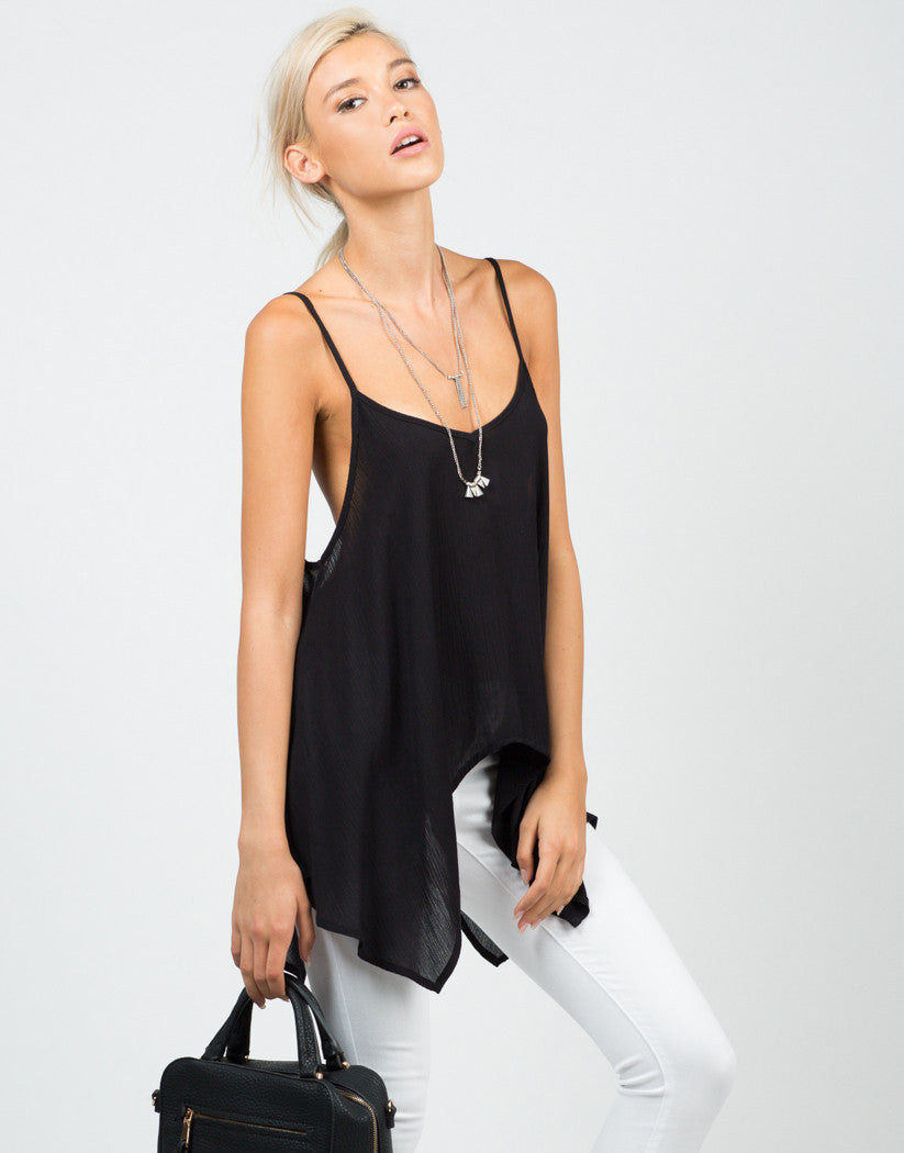 Front View of Flowy Chiffon Tank
