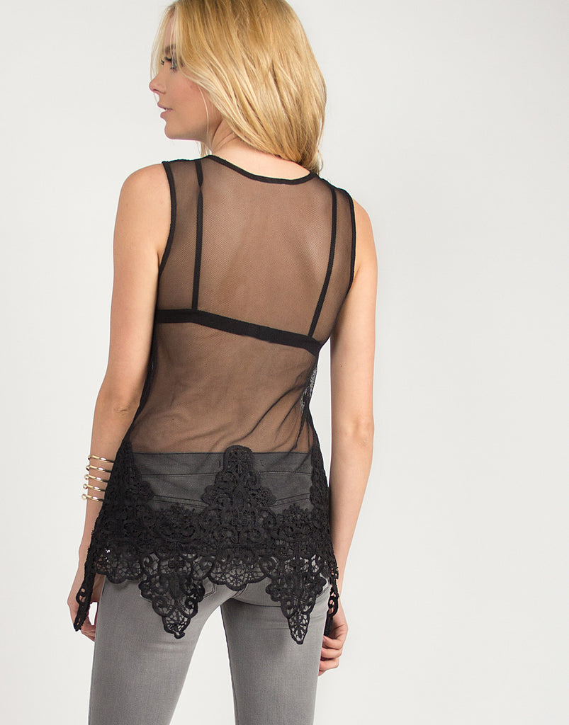 Flowy Crochet and Mesh Top - Black - 2020AVE