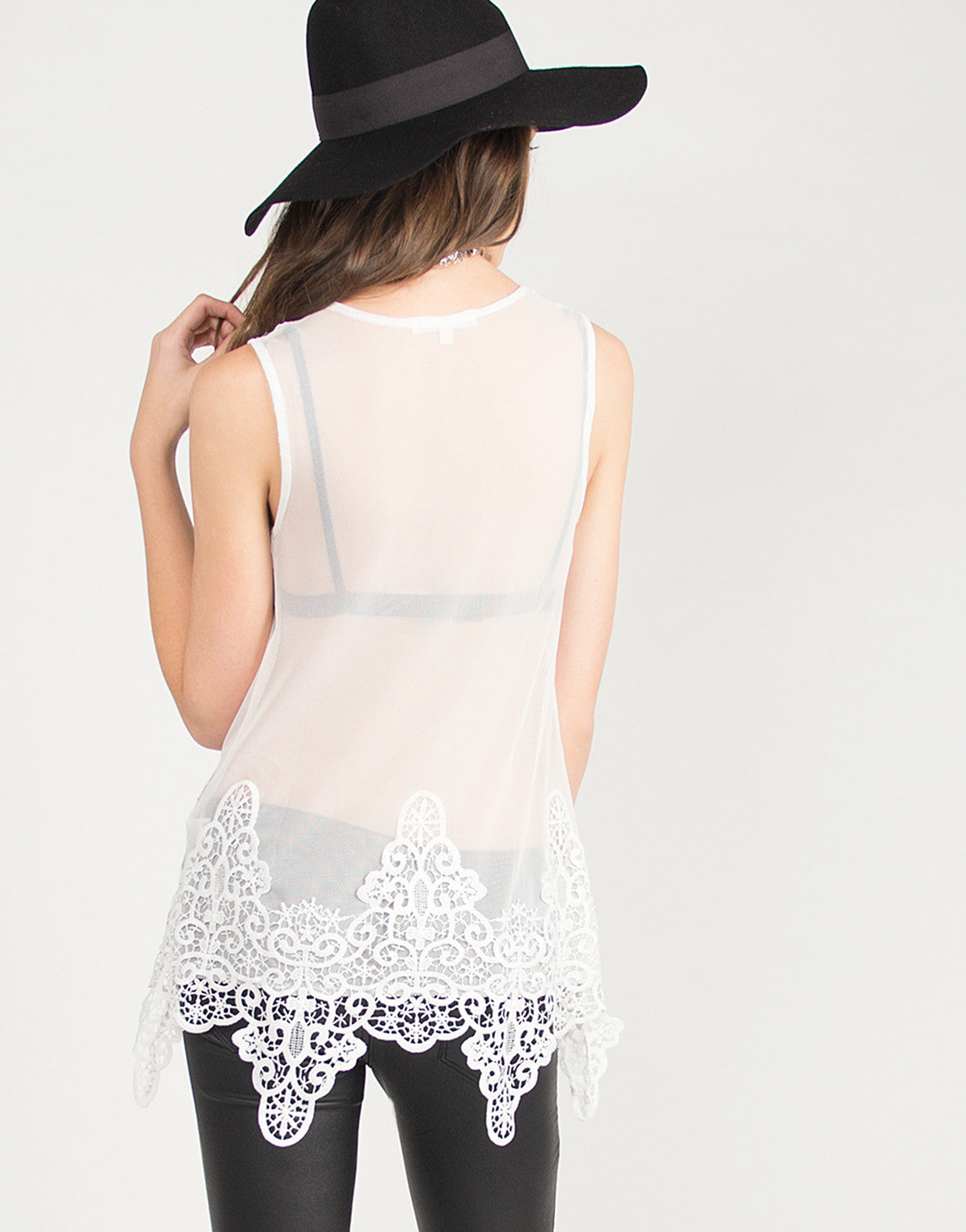 Flowy Crochet and Mesh Top - White