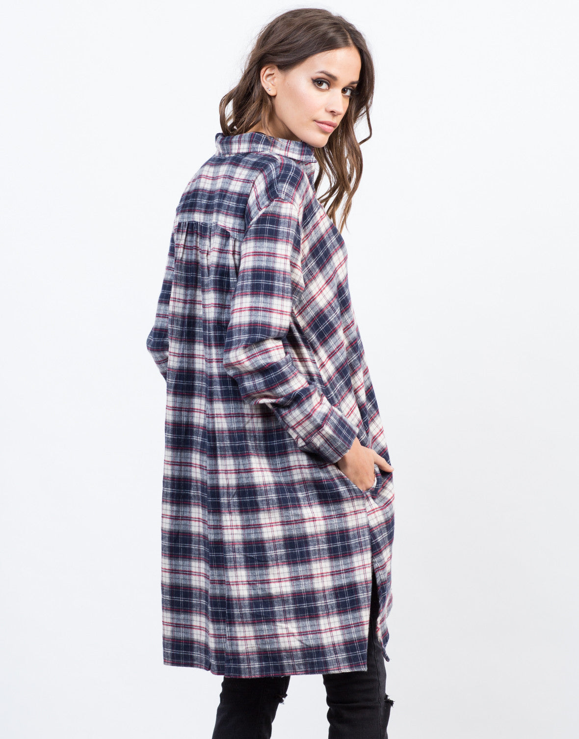 Back View of Flowy Flannel Shirt Dress