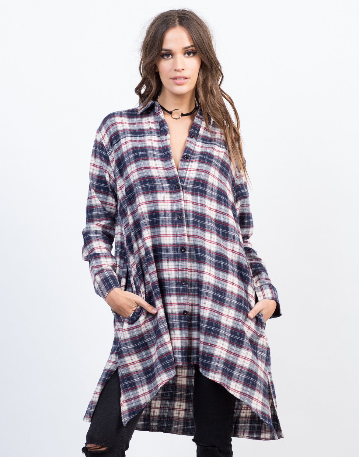 Flowy Flannel Shirt Dress Plaid Dress Checkered Top 2020ave