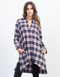Front View of Flowy Flannel Shirt Dress