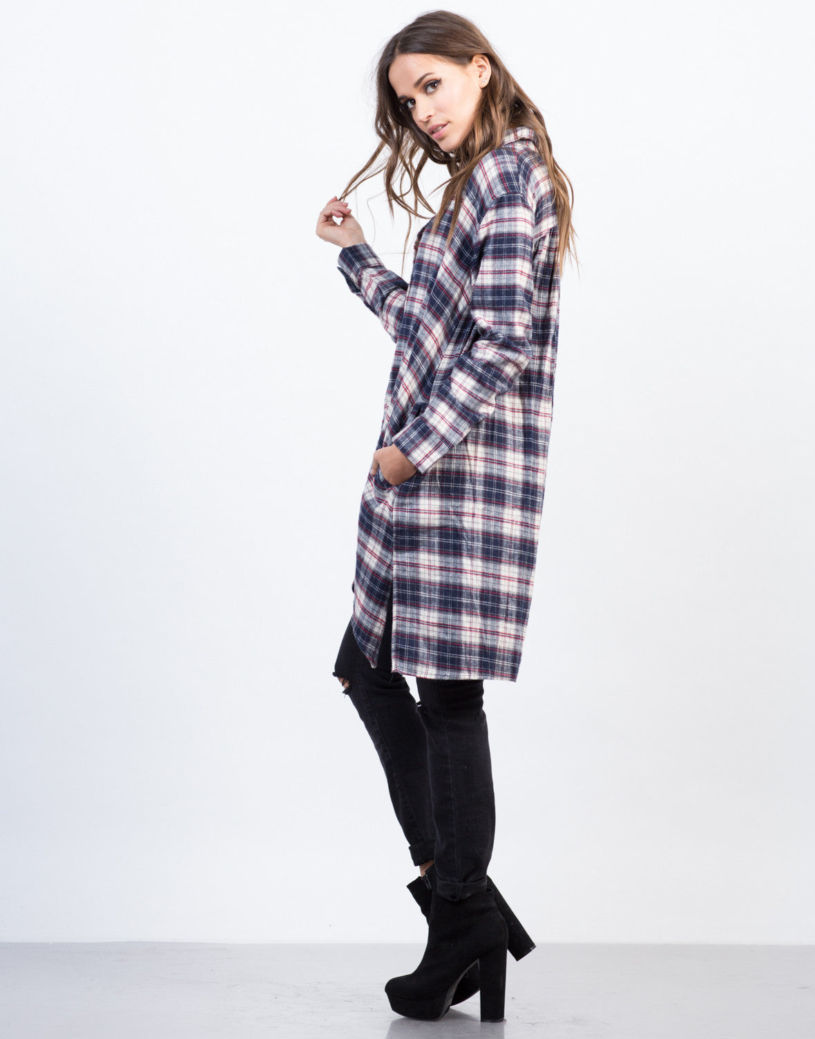 Side View of Flowy Flannel Shirt Dress