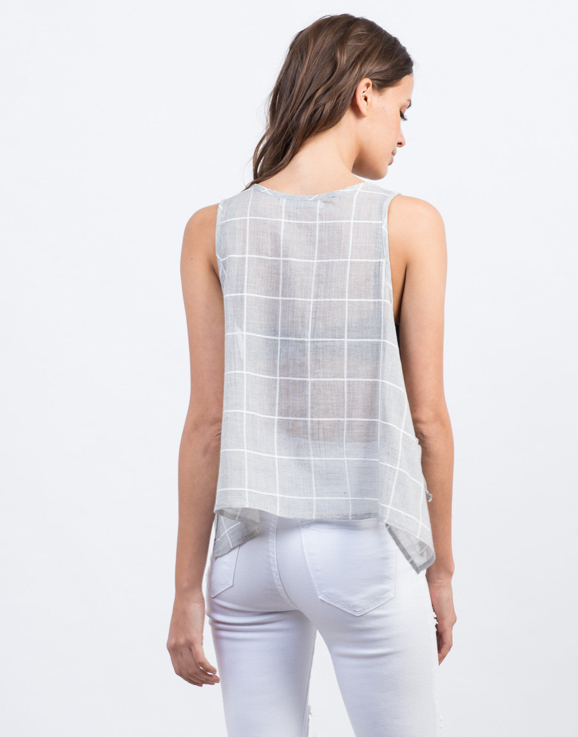 Back View of Flowy Grid Tank