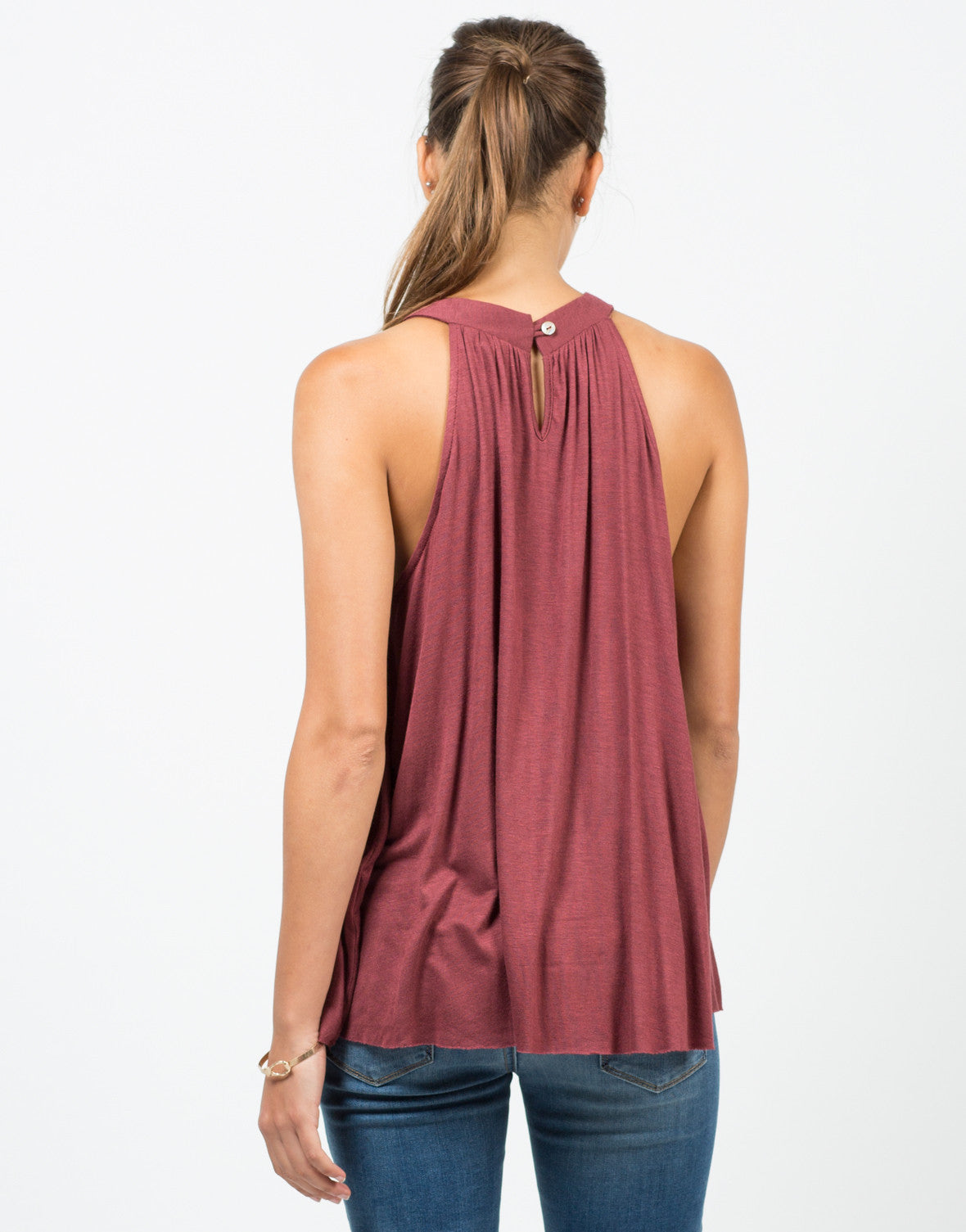 Back View of Flowy Halter Neck Top