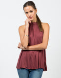 Front View of Flowy Halter Neck Top