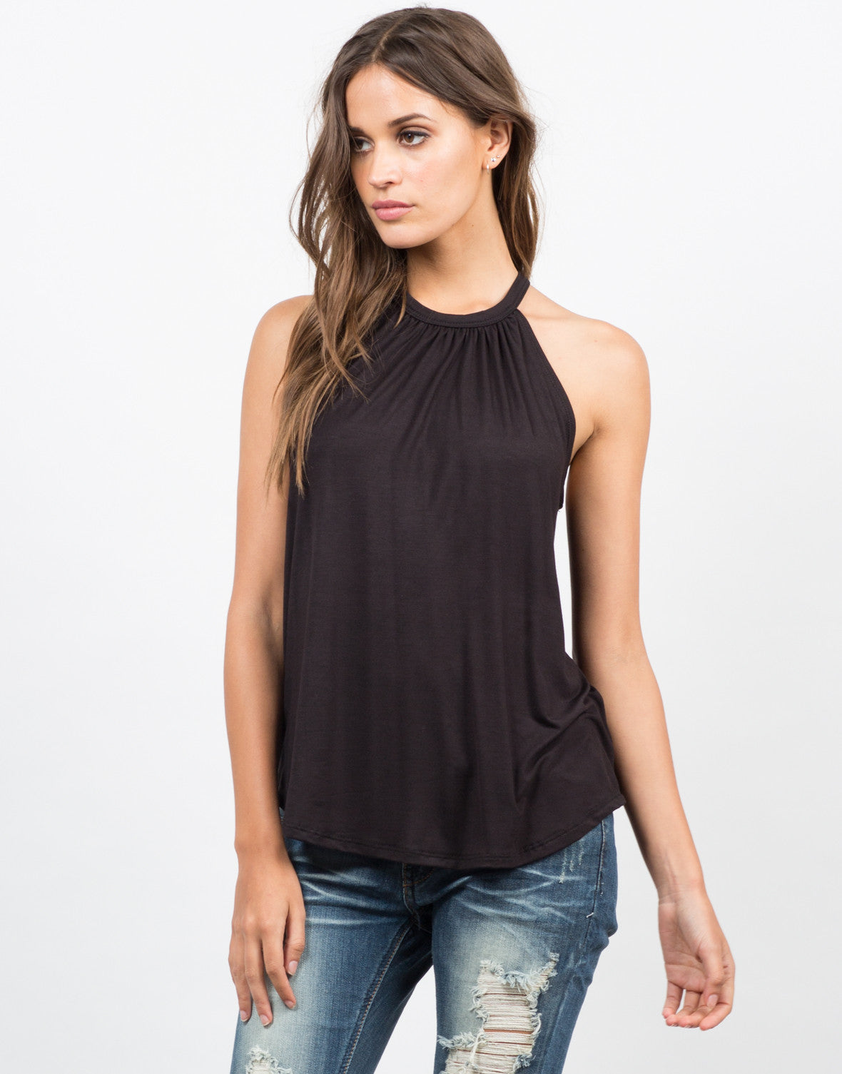 Front View of Flowy Halter Top