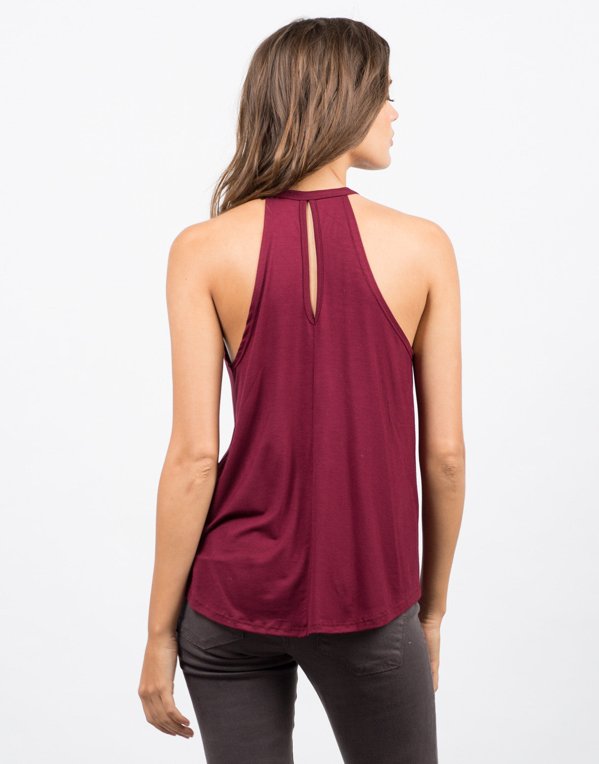 Back View of Flowy Halter Top