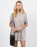 Front View of Flowy Lined Shirt Dress