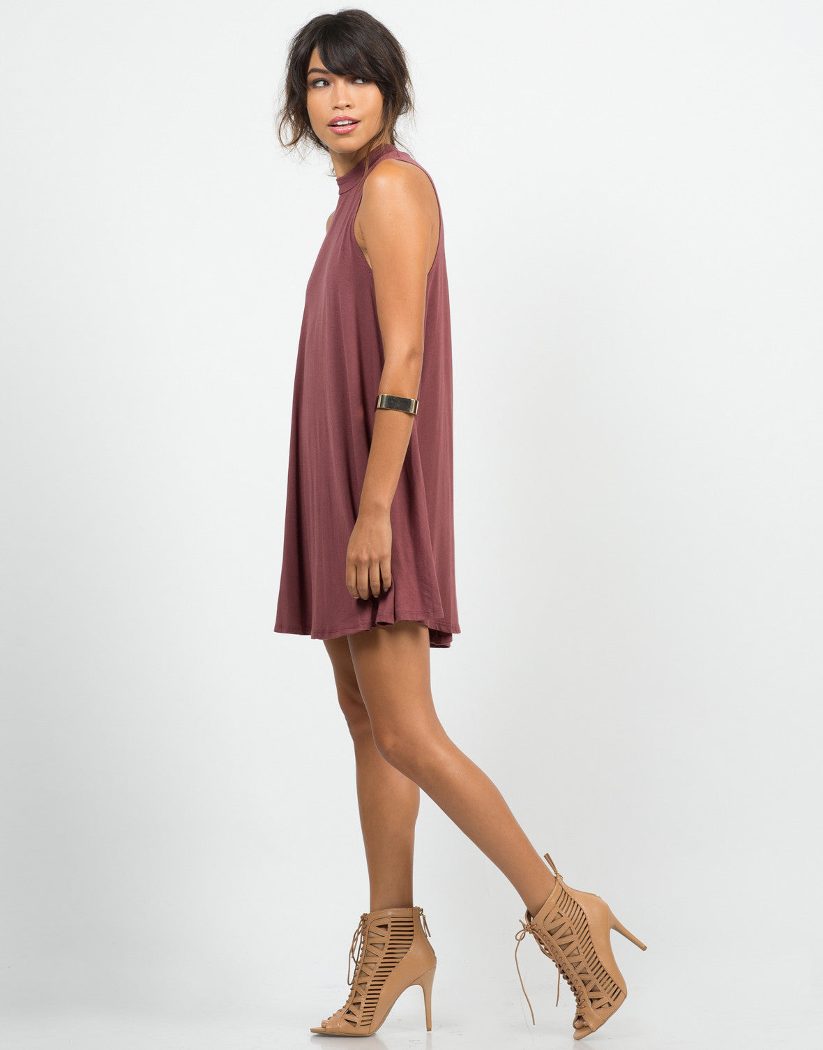 Side View of Flowy Mock Neck Dress