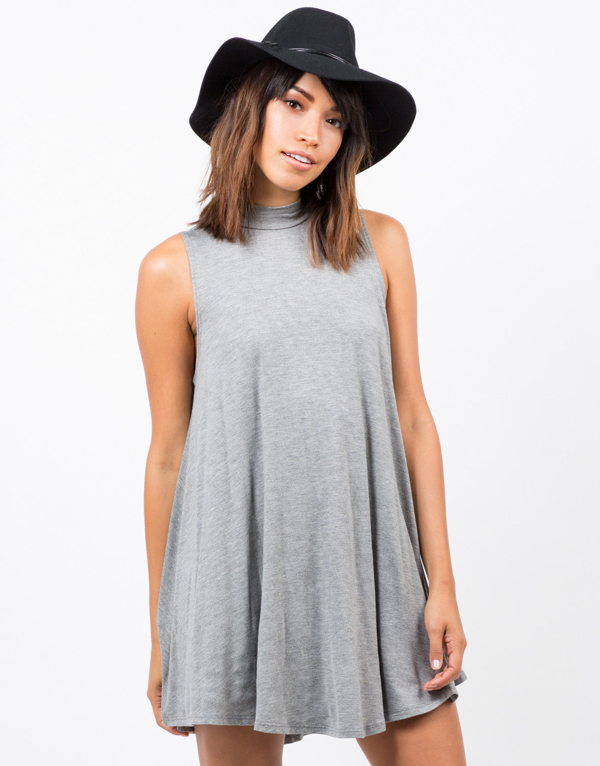 Front View of Flowy Mock Neck Dress