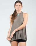Front View of Flowy Mock Neck Tank