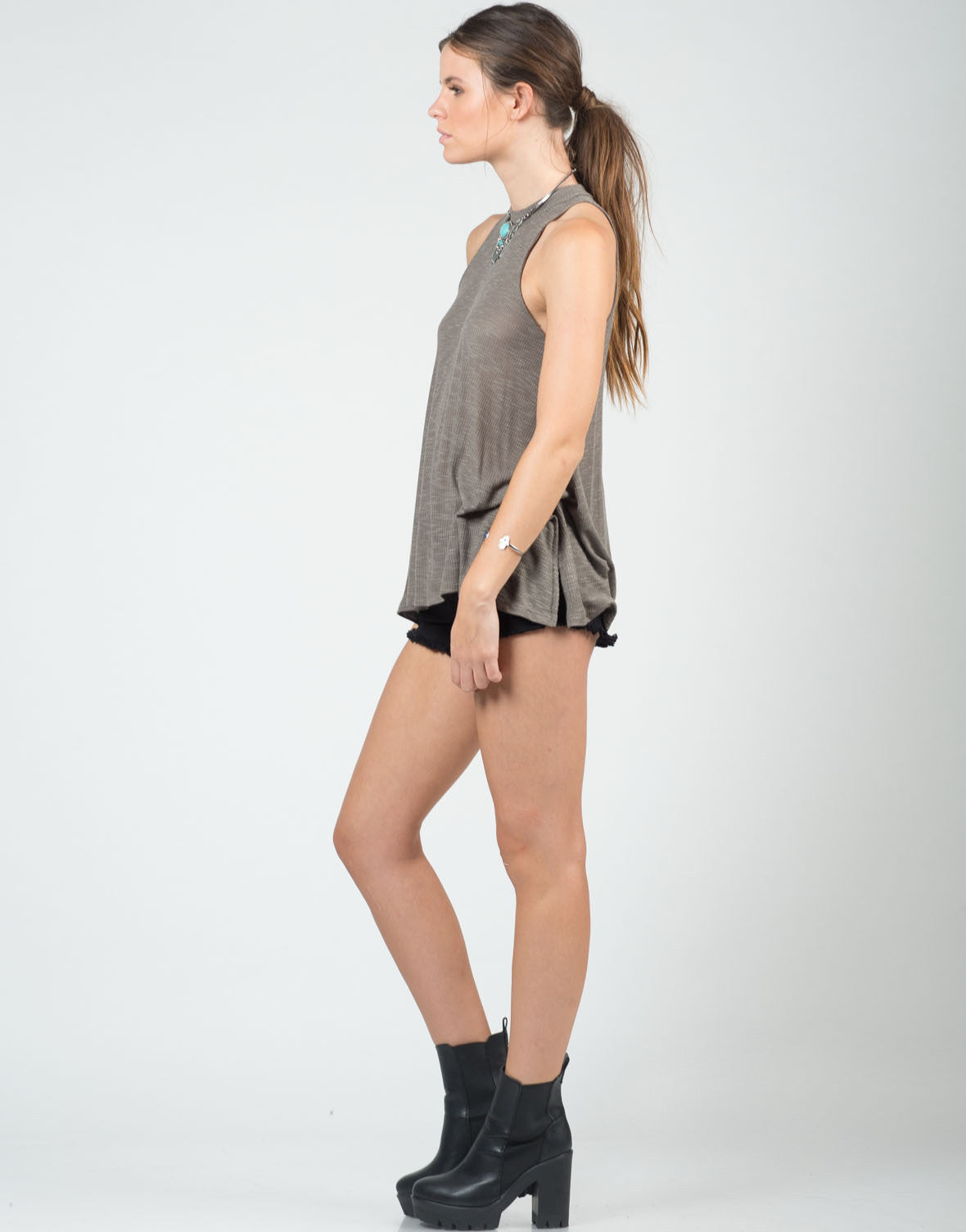 Side View of Flowy Mock Neck Tank