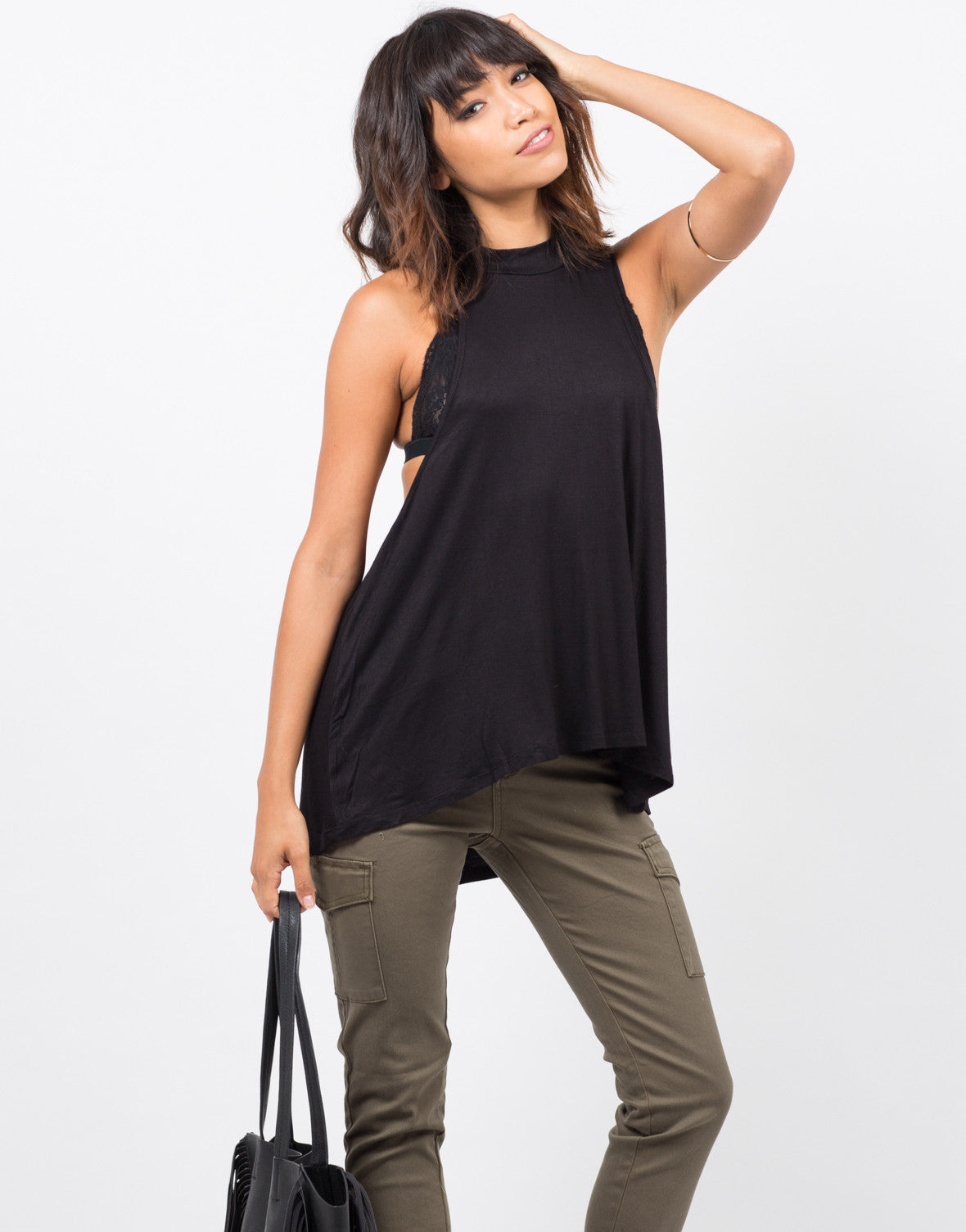 Front View of Flowy Mock Neck Top