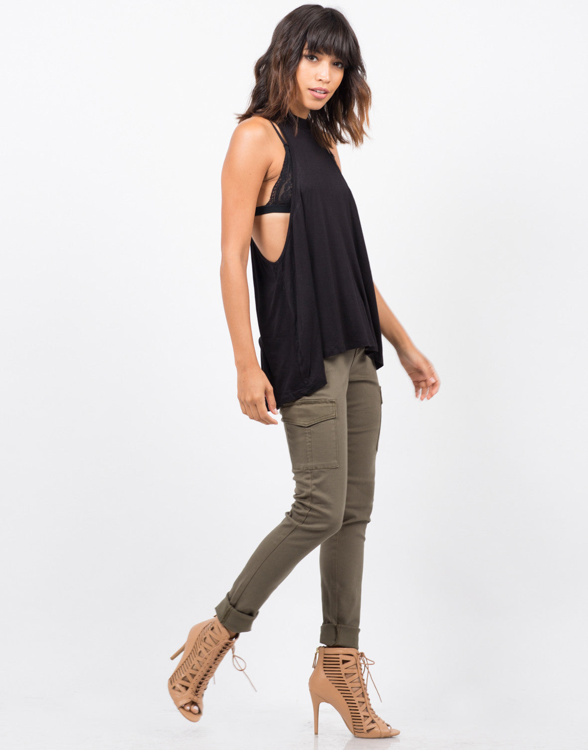 Side View of Flowy Mock Neck Top