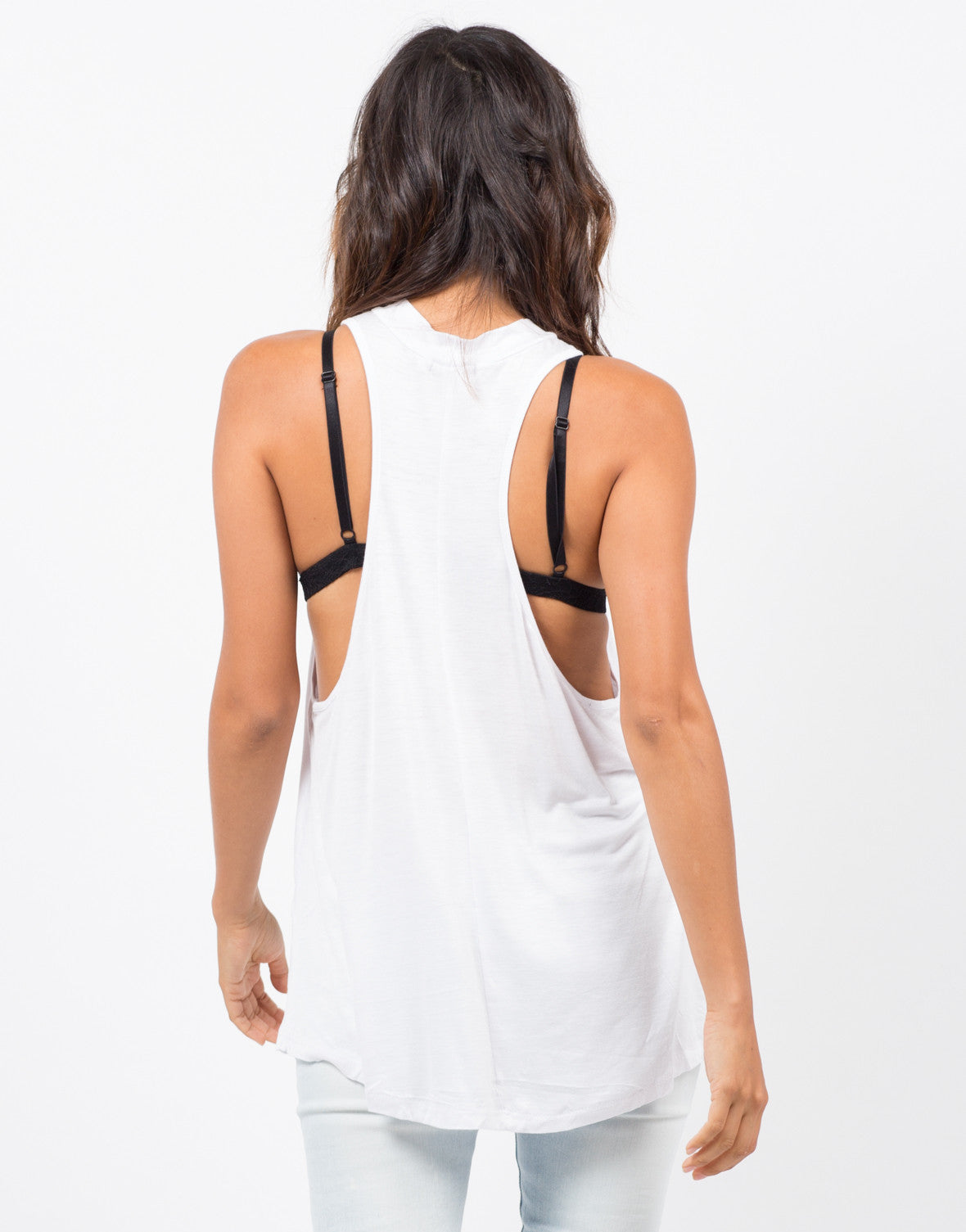 Back View of Flowy Mock Neck Top