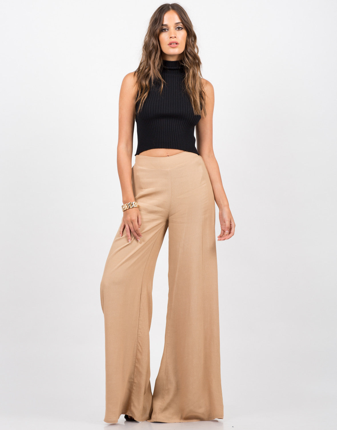 Front View of Flowy Palazzo Pants