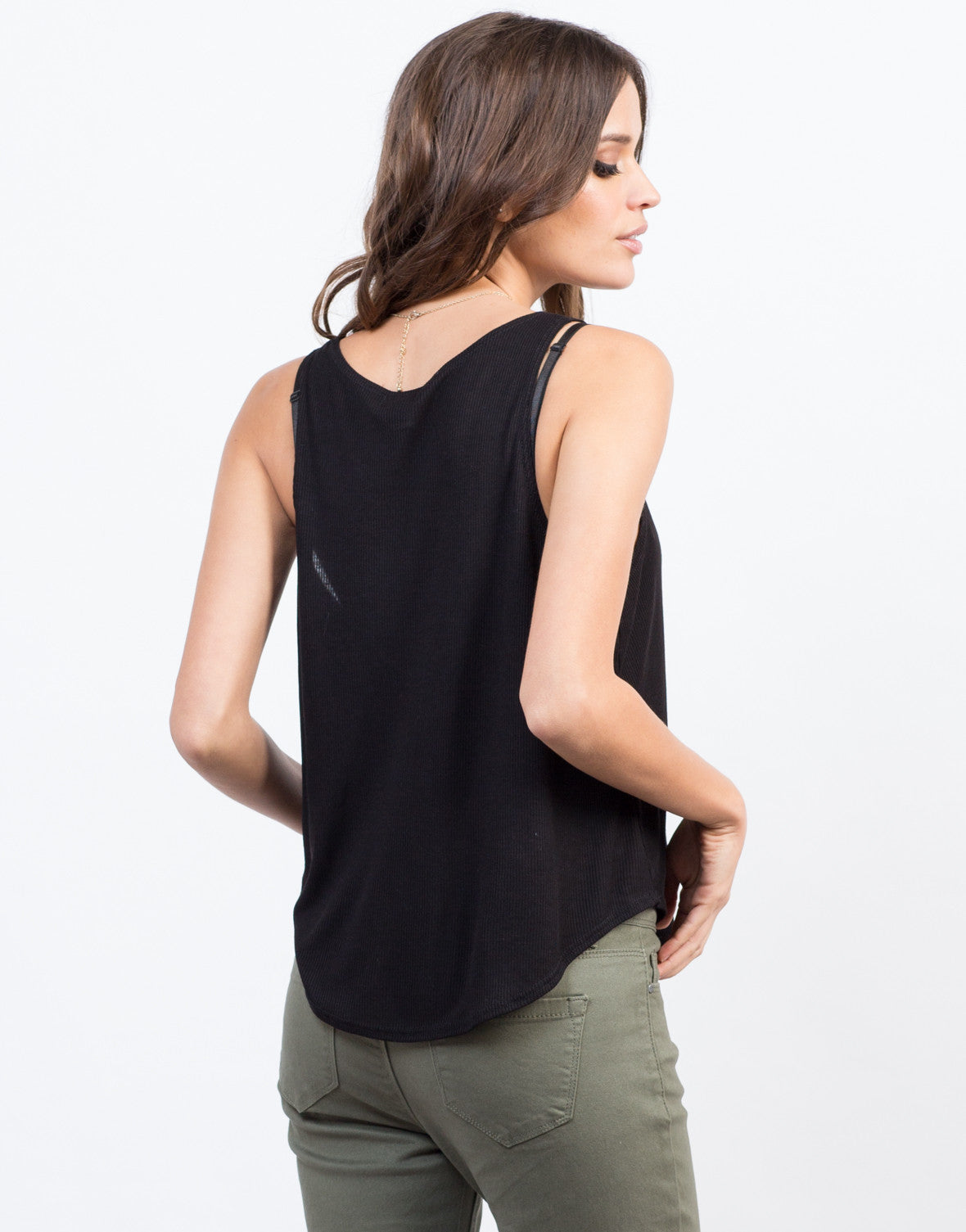Back View of Flowy Ribbed Tank