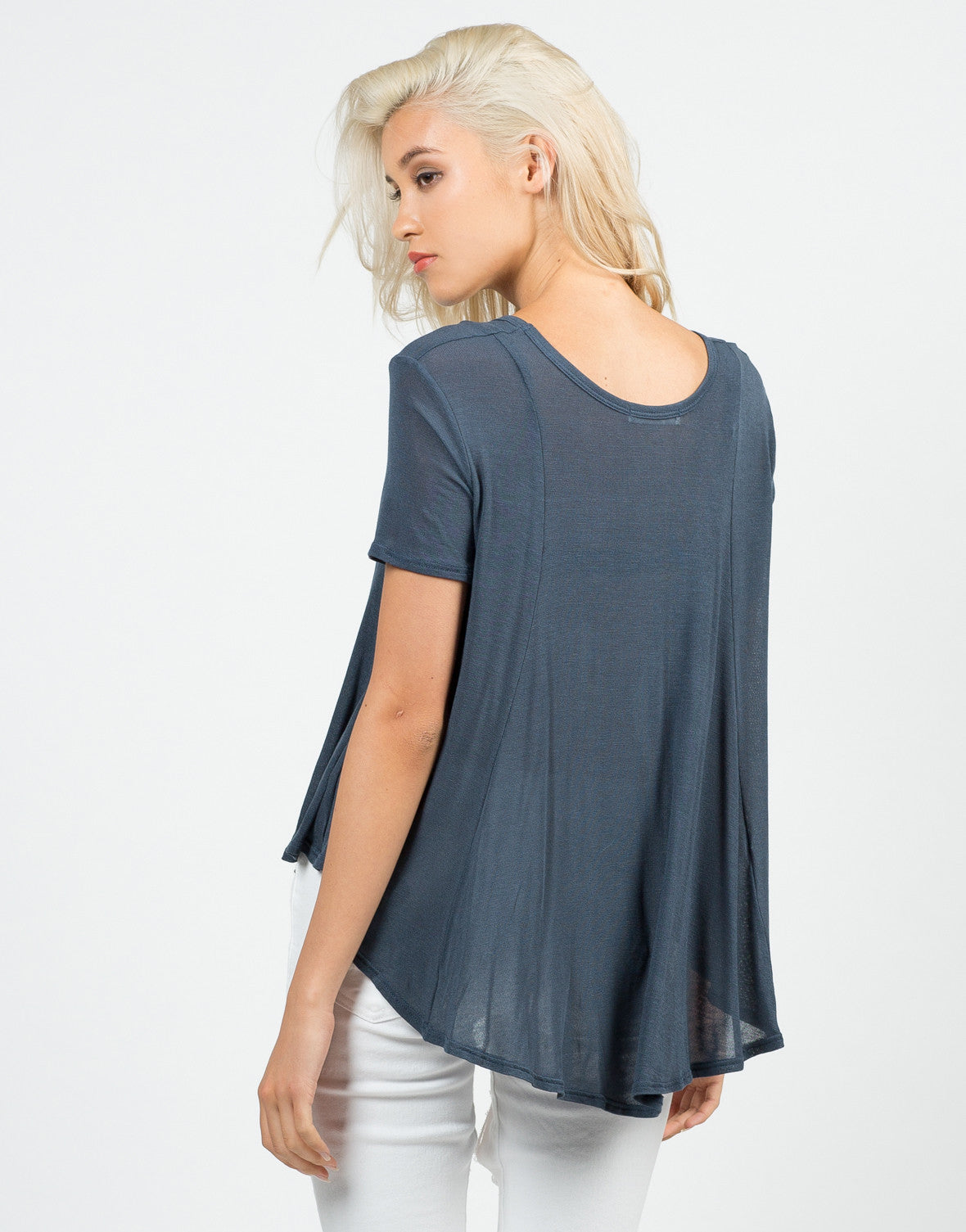 Back View of Flowy Sheer Knit Top