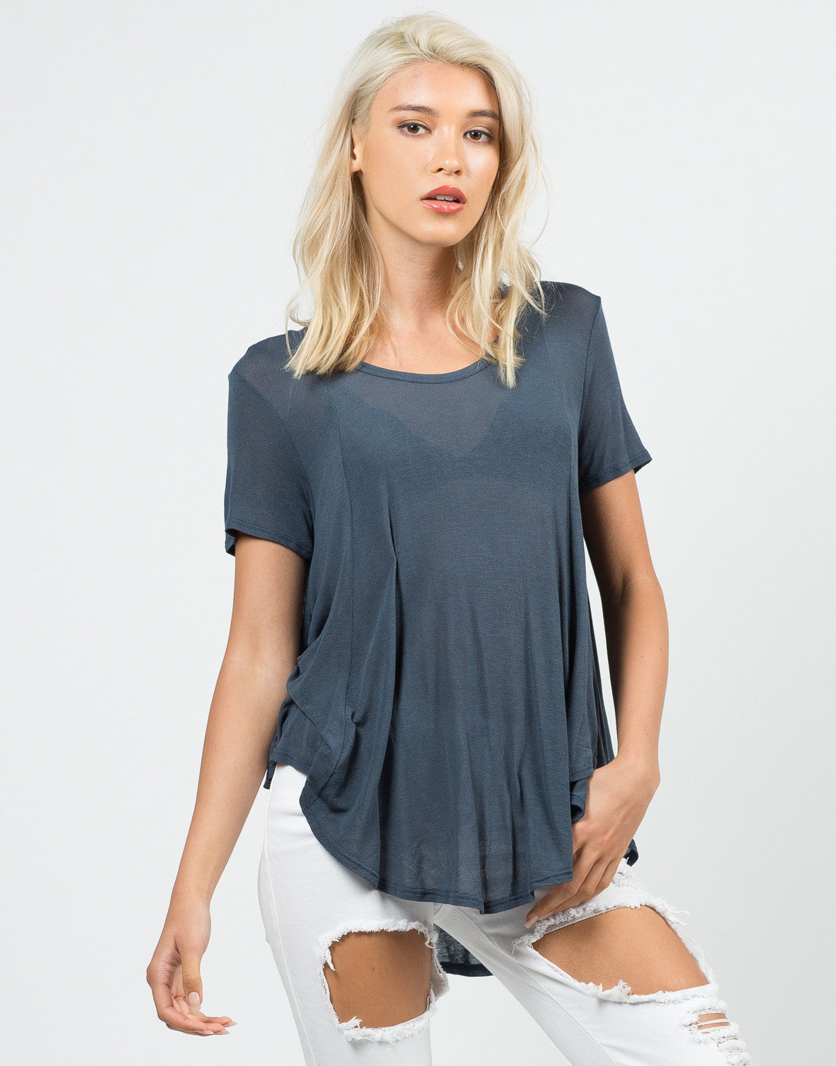 Front View of Flowy Sheer Knit Top