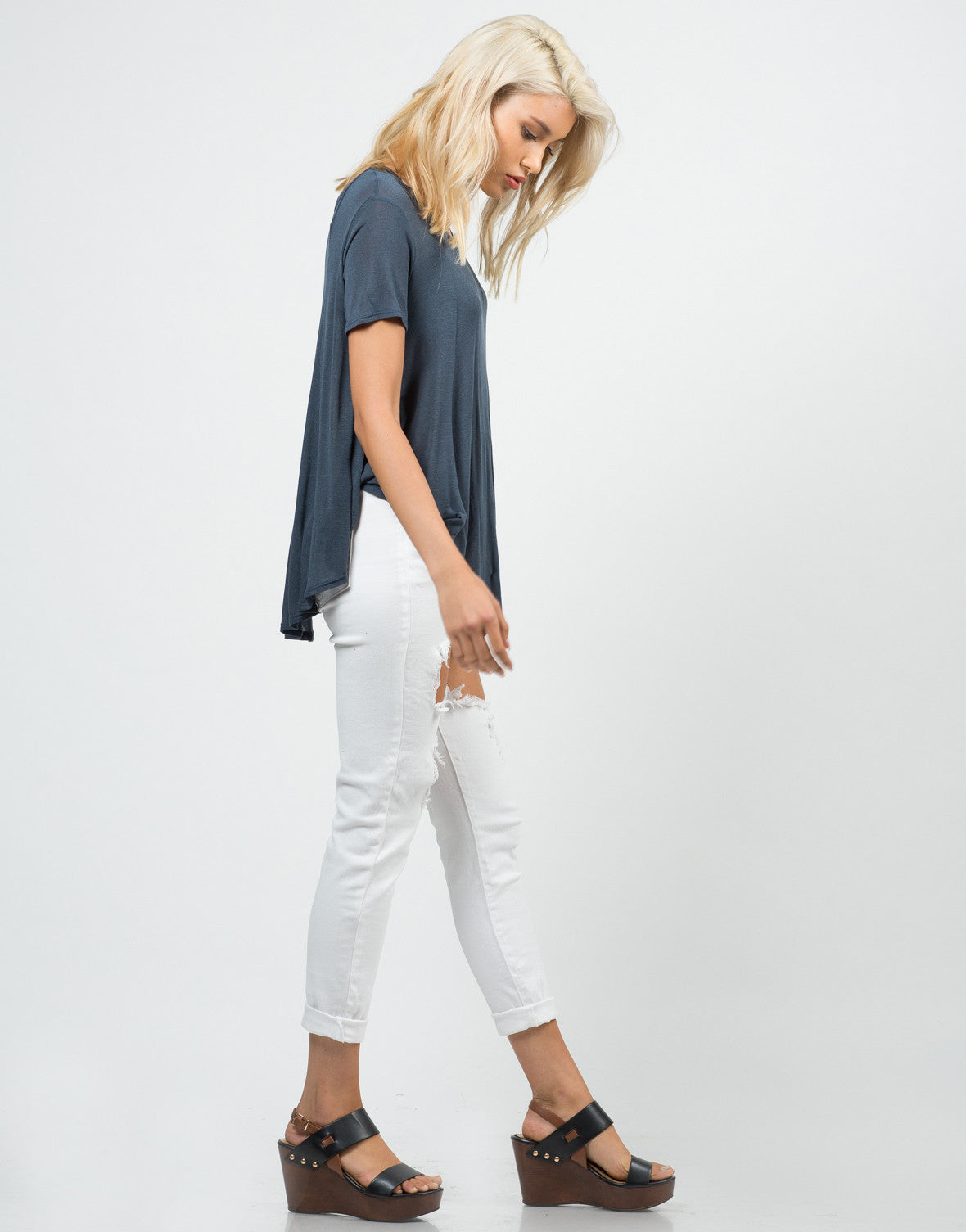 Side View of Flowy Sheer Knit Top