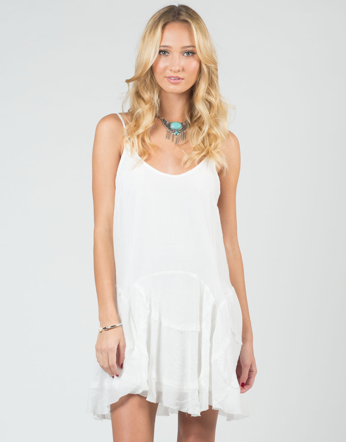 Front View of Flowy Stitched Cami Dress